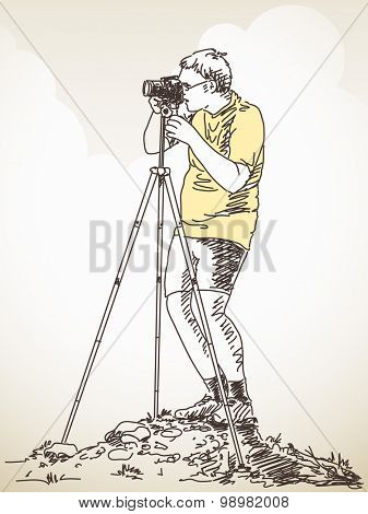 Photographer with tripod taking a photo, Hand drawn Vector illustration