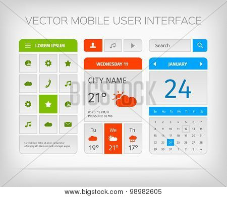 Set of mobile user interface and icons for app or web.