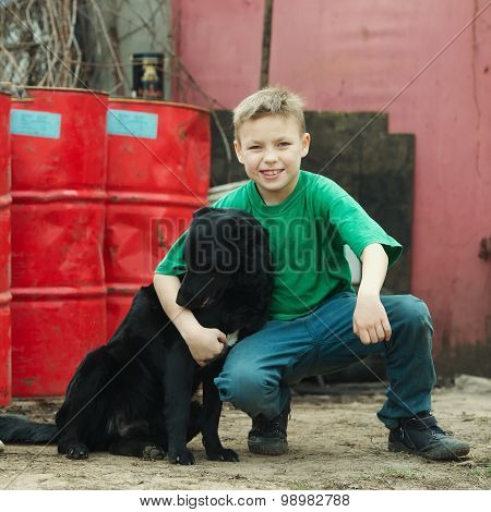 children play at dump with dog