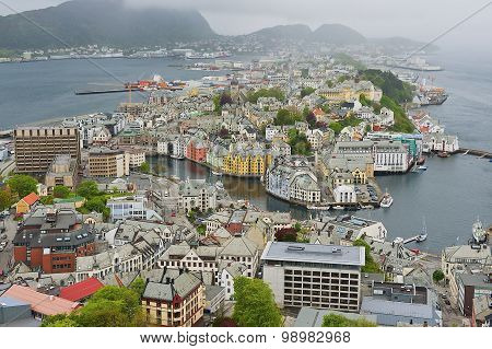 View to the Alesund city on a cloudy summer day in Alesund, Norway.