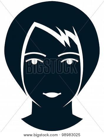 Vector Girl Head Illustration Isolated On White