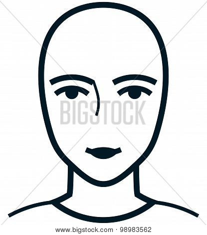 Vector Female Face Illustration Isolated On White