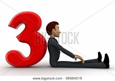 3D Man Setting Beside 3 Letter Concept
