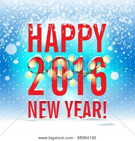 Vector illustration. Happy New Year 2016. New Year festive poste