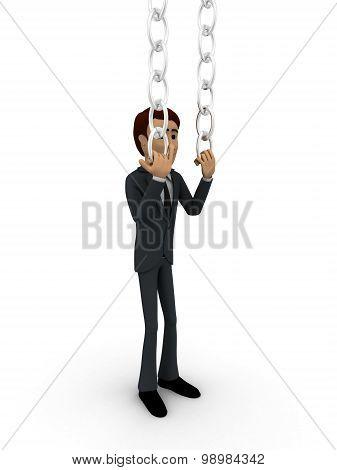 3D Man Pushing Chain Concept