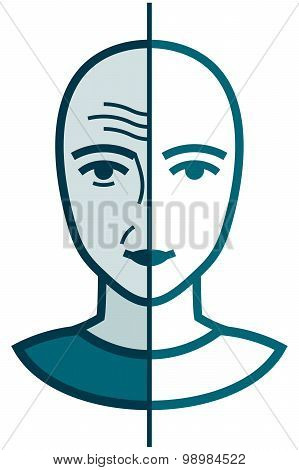 Vector Old And Young Illustration Isolated On White