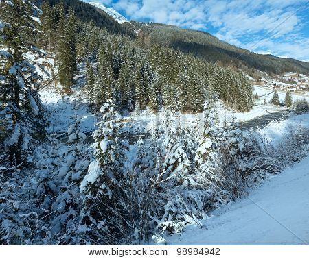 Winter River With Snowy Trees.