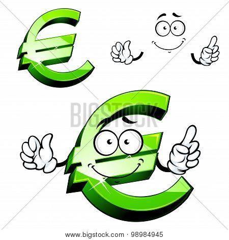 Cartoon isolated green euro sign