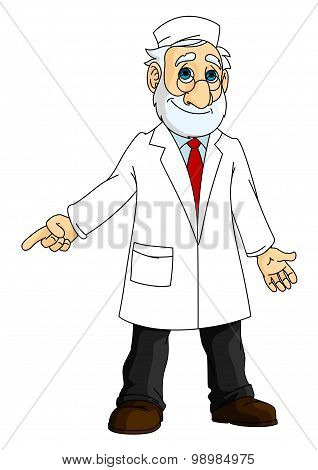 Cartoon doctor in white coat
