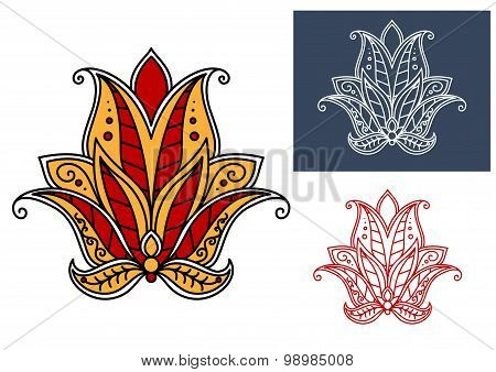 Indian paisley flower with red and orange petals