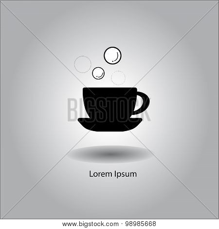 Illustration Vector Coffee Cup Icon With Soap Bubble.