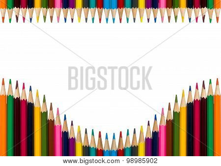 Horisontal Frame With Colorful Pencils On White Background