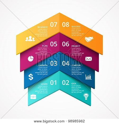 Vector arrows up success infographic. Template for growth diagram, graph, presentation and chart. Bu