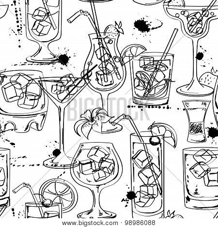 Sketch Seamless Pattern Of Cocktails
