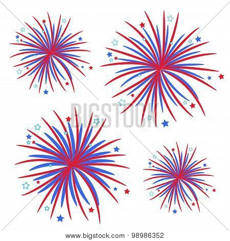 Fireworks Isolated Star And Strip  Flat Design