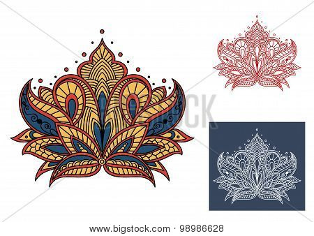 Decorative vintage isolated paisley flower