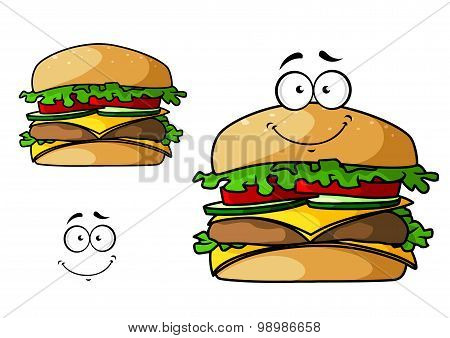 Cartoon isolated fast food cheeseburger