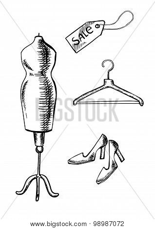 Shoes, label, hanger and mannequin  sketch