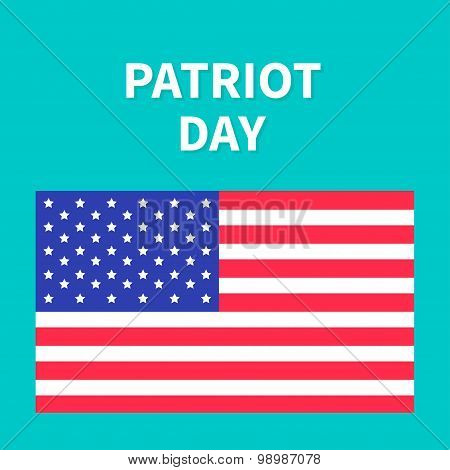 American Flag Patriot Day Background Flat Design Card