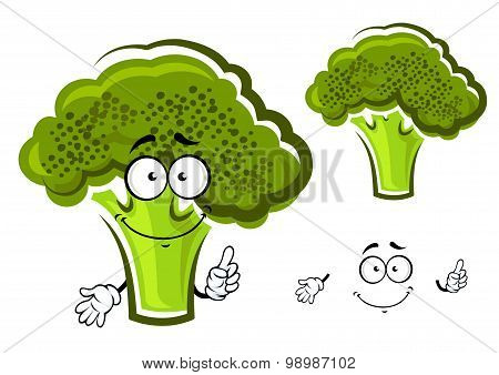 Cartoon green fresh broccoli vegetable