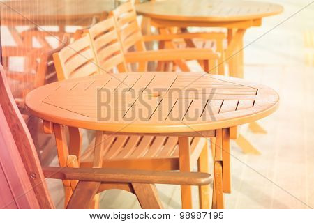 Wooden Chair And Table Outdoor