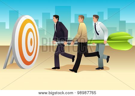 Businessmen Aiming A Dart On The Target