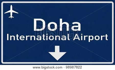 Doha Quatar Airport Highway Sign