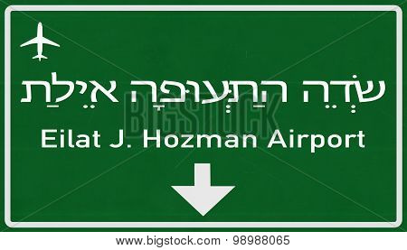 Eilat Israel Airport Highway Sign
