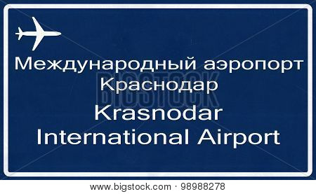 Krasnodar Russia Airport Highway Sign