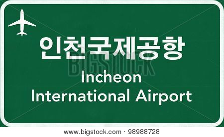 Seoul Incheon South Korea Airport Highway Sign