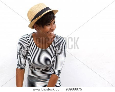 African American Fashion Model Laughing With Hat