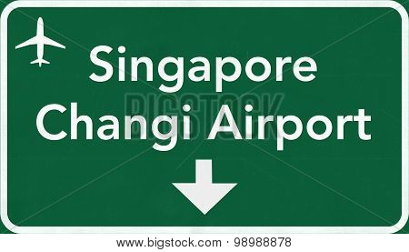 Singapore Airport Highway Sign