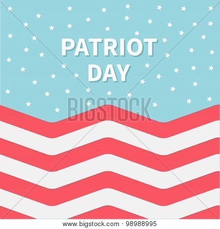 Red And White Strip Ocean Star Sky Patriot Day Flat Design