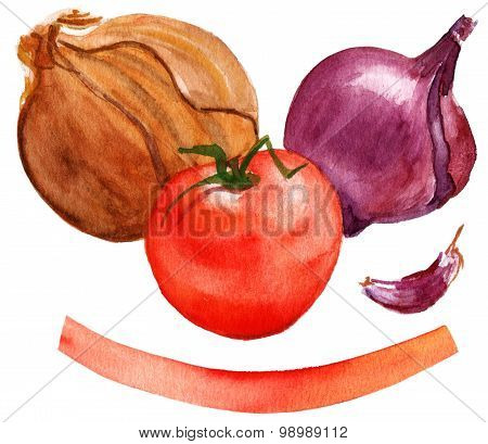 A drawing of two types of onions, a garlic clove and a bright red tomato with a banner