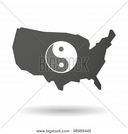 Usa Map Icon With A Ying Yang