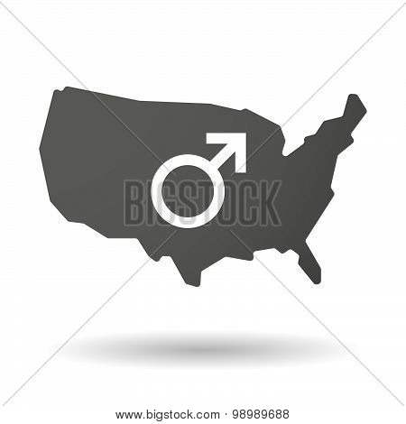 Usa Map Icon With A Male Sign