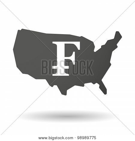 Usa Map Icon With A Swiss Franc Sign