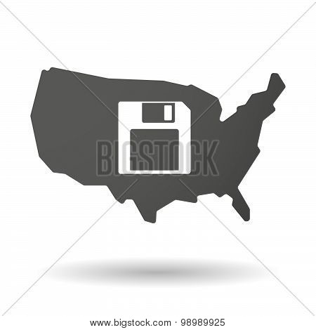 Usa Map Icon With A Floppy Disk
