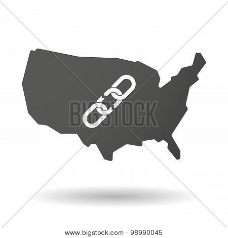 Usa Map Icon With A Broken Chain