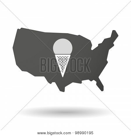 Usa Map Icon With A Cone Ice Cream