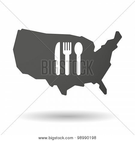 Usa Map Icon With Cutlery