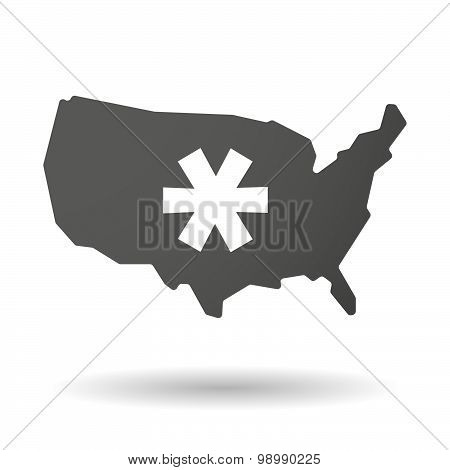 Usa Map Icon With An Asterisk
