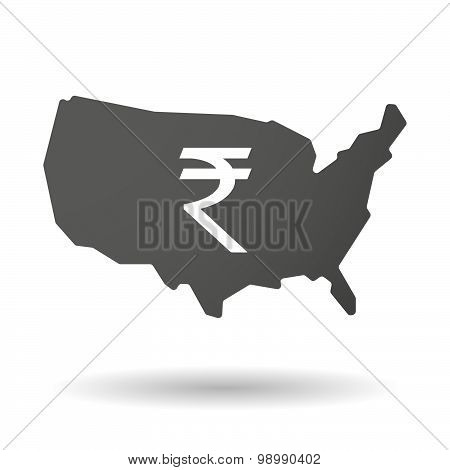 Usa Map Icon With A Rupee Sign