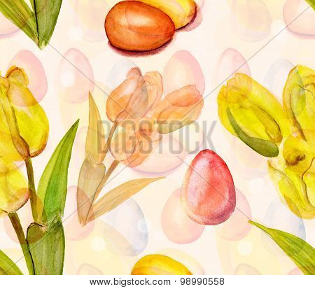 Seamless watercolour Easter eggs and flowers background pattern, toned