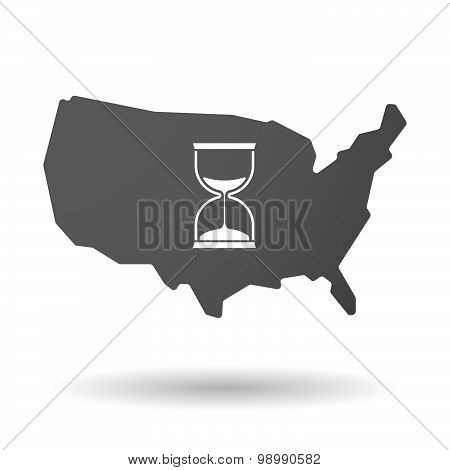 Usa Map Icon With A Sand Clock