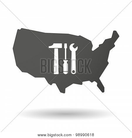Usa Map Icon With A Tool Set
