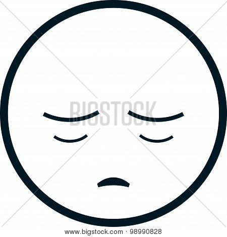 Vector Sad Face Isolated On White Background