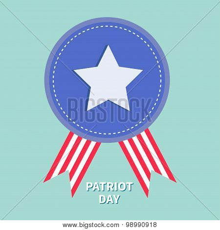 Blue Badge With Ribbons Award Icon Star And Strip Patriot Day Flat Design