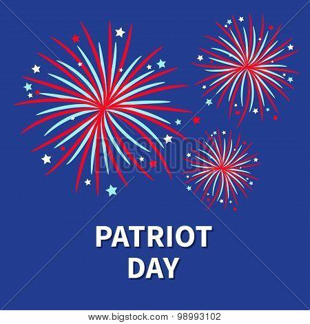 Patriot Day Three Fireworks Night Sky Star And Strip  Flat Design