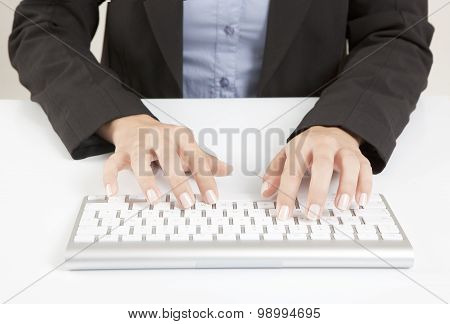 Woman Hands With Keyboard